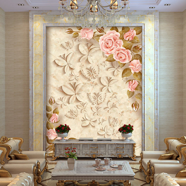Elegant Wallpaper For Wall: Europe Rose Flowers Photo Wallpaper Custom 3D Wallpaper