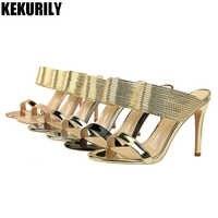 靴女性のパテントレザーミュールグリッターピープトウスライド高ヒールスリッパサンダルブラックゴールドシルバーブロンズシャンパン