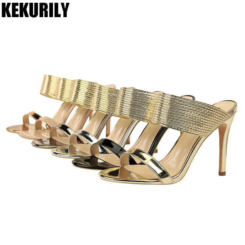 Shoes Woman Patent leather Mules glitter Peep toe Slides High heel Slippers Slip on Sandals black gold silver bronze champagne