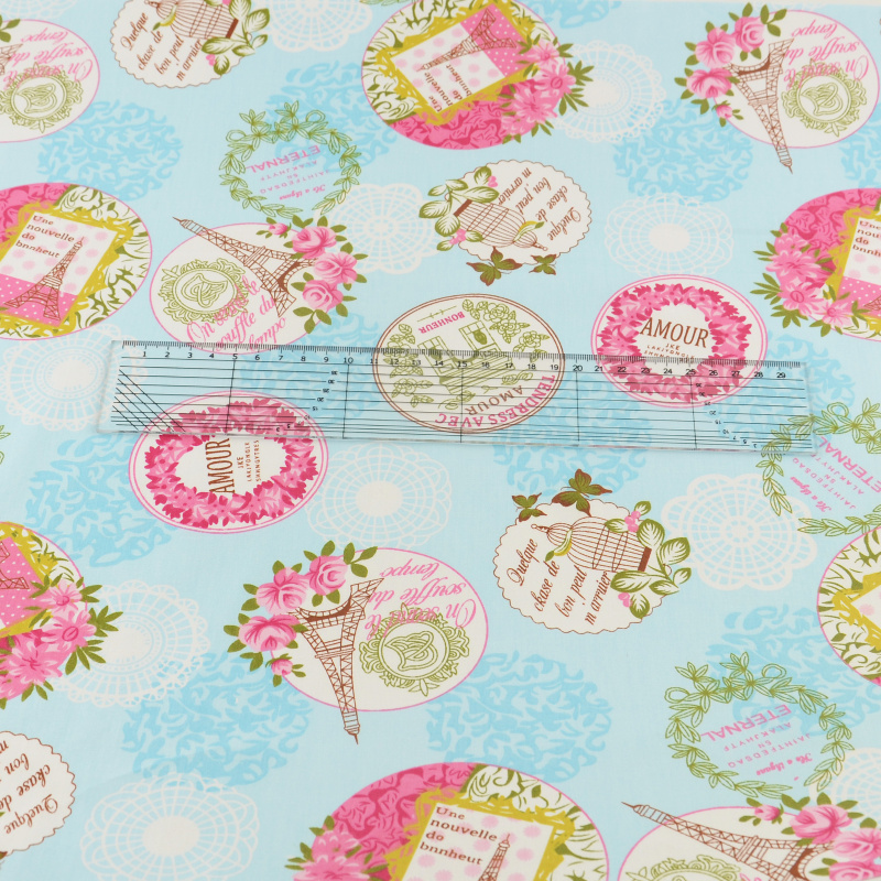 Blue Printed Floral Designs 100 Cotton Fabric Twill Fabrics Decoration Home Textile Quilting Patchwork Bedding Sbooking