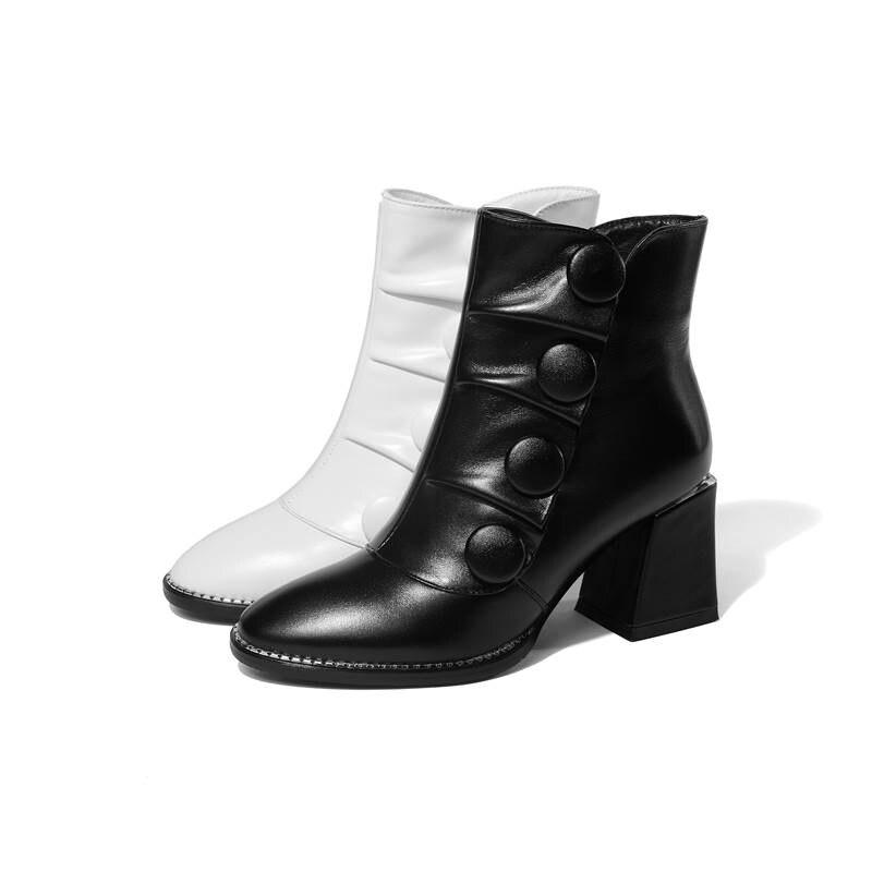 Bouton Cuir white Hiver Pour Noir Bottes Mode Bout À Pointu Nouvelle Véritable Hauts 2018 Memunia Cheville Arrivée Épais En Femmes Talons Zip De Sq6vwnBwR