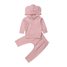 Baby Rabbit Ear Hooded Clothes Set Newborn Babies Boys Girls Bunny Ears Hoodie Tops Sweatshirt Pants Outfit 0-18M 2019 цена и фото