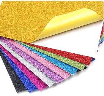 50pcs A4 Colored EVA Dust Sponge Paper DIY Handmade Scrapbooking Craft Flash Foam Paper Glitter Manual Art Materials Supplies