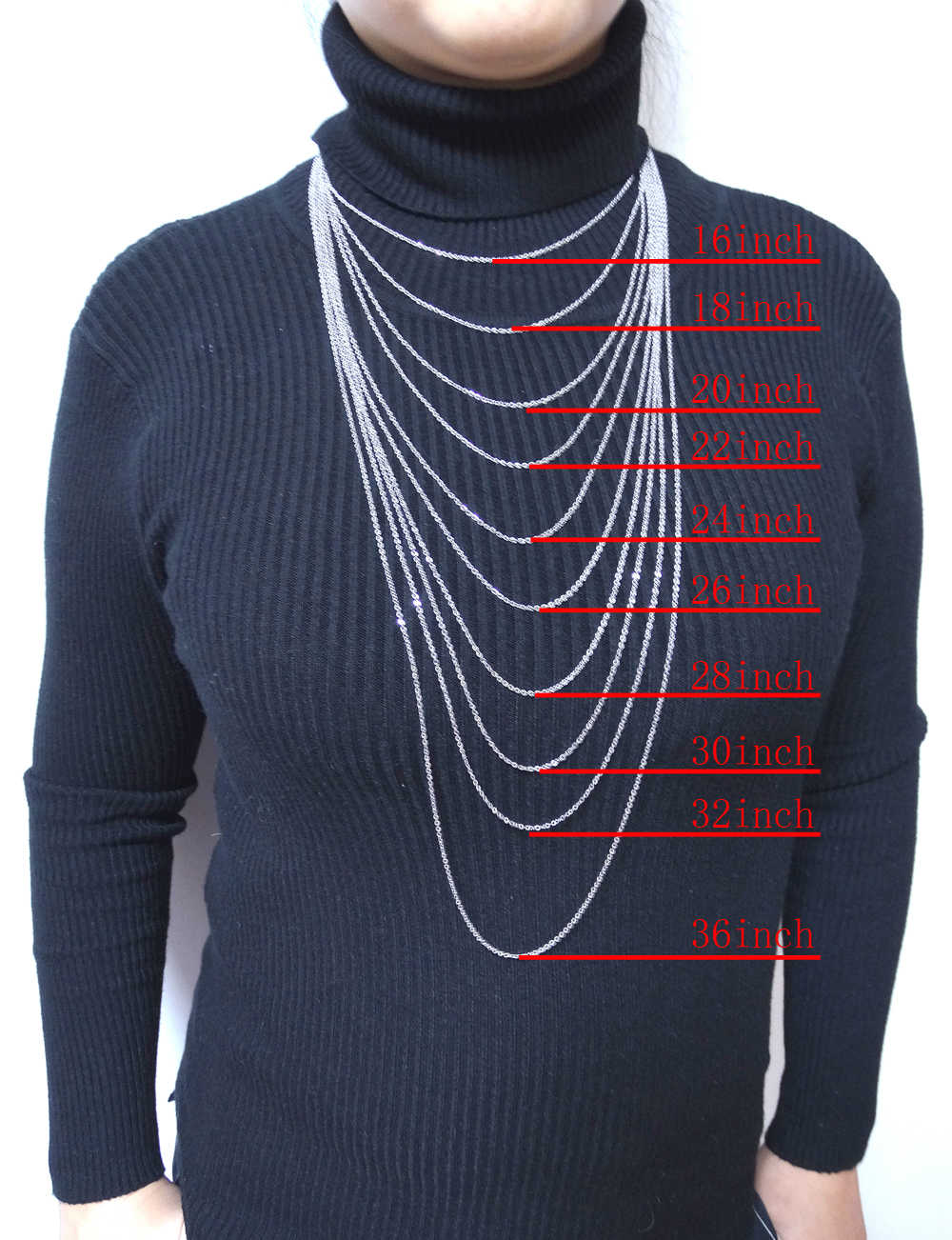 """Mannen Vrouwen Jewerly 1mm 16 """"18"""" 20 """"22"""" 24 """"Inches Links Chain Mode Ketting Rvs Ketting Classic Pop Rolo Kettingen"""
