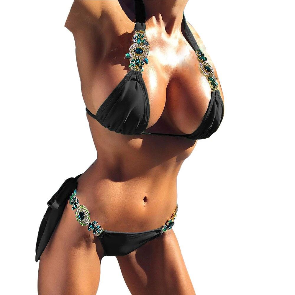 OULING High Quality Diamond Rhinestone Bikini Swimsuit Sexy Women Bandage Biquini Micro Lace Bikini Halter Swimwear Beach Wear 4