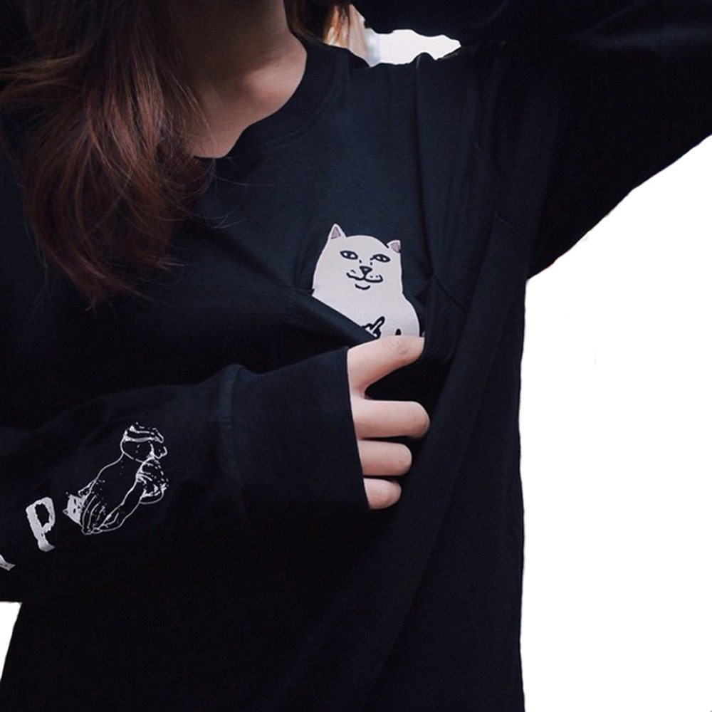 Autumn Winter Cat Black Long Sleeve T Shirt Women Vegan Kpop Harajuku Gothic Vintage Printed Cotton Tops Plus Size Clothing