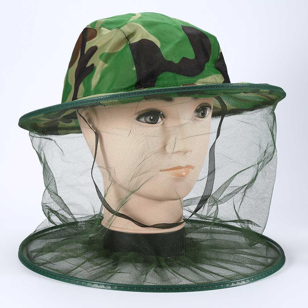 Camouflage Bijenteelt Vissen Hoed Insecten Klamboe Preventie Cap Mesh Mug Cap Outdoor Zonnescherm Lone Hals Hoofd Cover