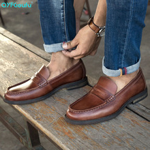 QYFCIOUFU Luxury Brand Hot Sale Men Flat Formal Classic Shoe Man Genuine Leather Casual Men Shoes Designer Elegant Dress Shoes