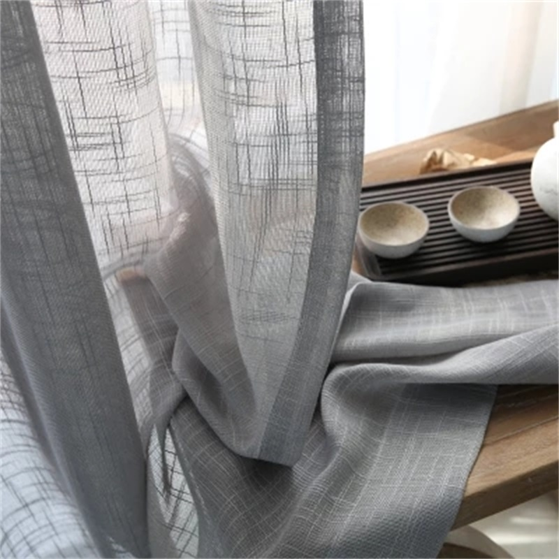 Customized Thick Cross Gray Cotton Linen Tulle Curtain Finished Pure Curtain Fabric Bedroom Living Room Floor Window T101#4