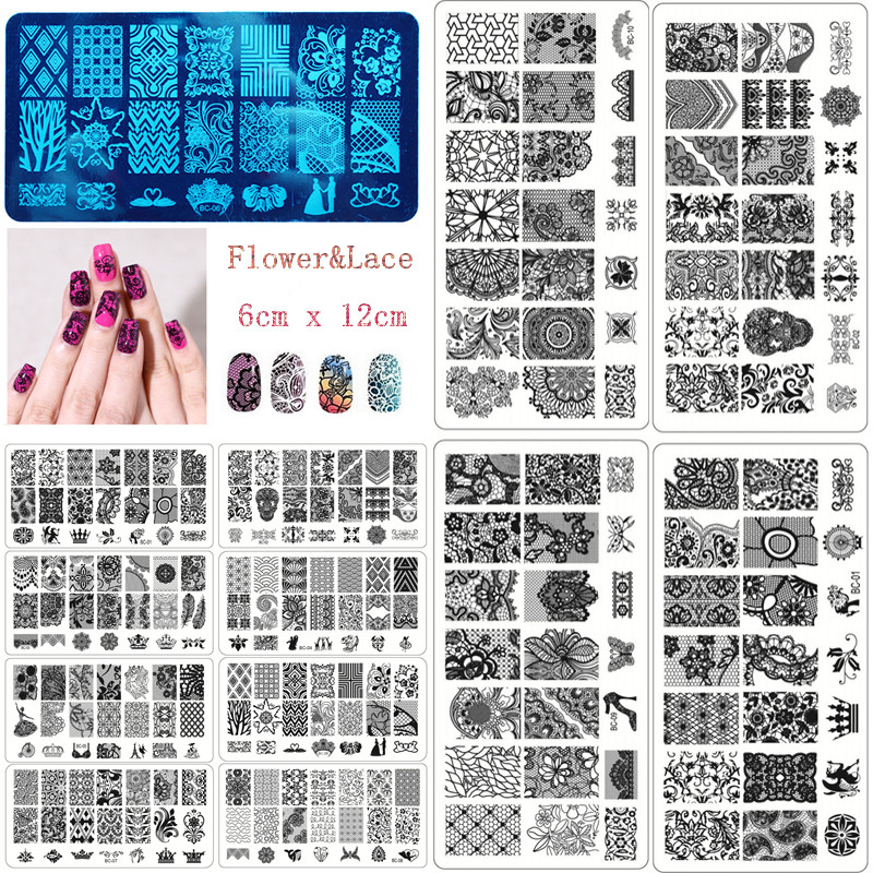 New Black Flower Lace 10pcslot 612cm Nail Stamping Plates Konad