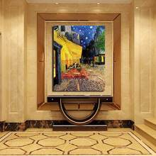 Van Gogh Cafe Terrace at Night Handmade Oil Painting Canvas Wall Art Vintage Home Decoration Handpainted Dining Room Decor