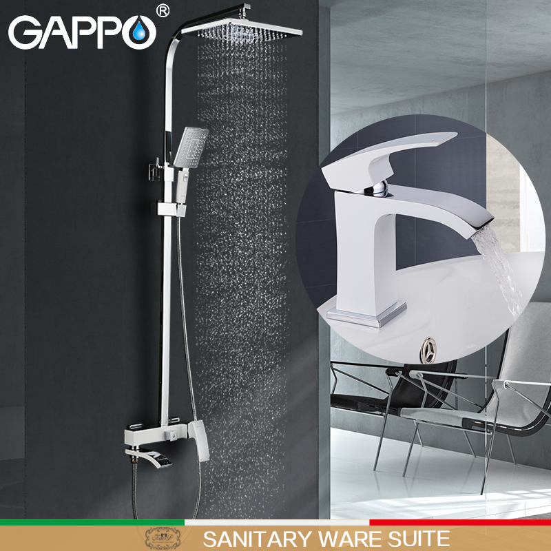 GAPPO white Shower Faucets bathroom shower basin faucet water mixer tap bath set Sanitary Ware Suite