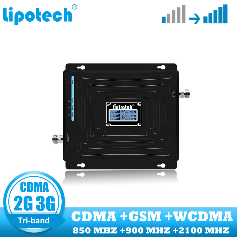 lintratek Tri band GSM cellular signal booster CDMA WCDMA UMTS cell phone repeater <font><b>850</b></font> 900 <font><b>2100</b></font> internet communication amplifier image
