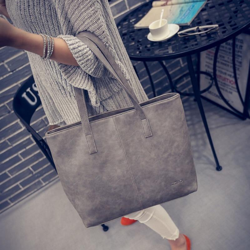 цены Women Leather Shoulder Bag fashion formal women's vintage handbag brief shoulder big bags gray /black/Brown Wholesale