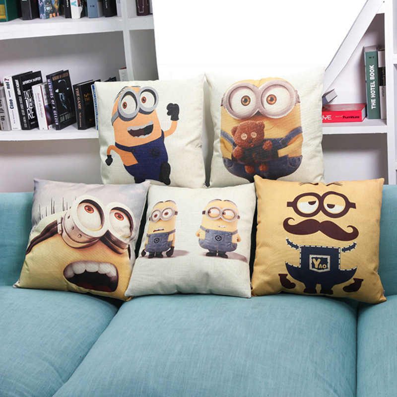 Cushion cover Cartoon minions design linen/cotton  pillow case character pattern Home decorative pillow cover seat pillow case