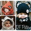 Fox Ear Scarf Caps Set Winter Hats Children Warm Neck Wrap Cute Wool Knitted Hats Kids Shawls Crochet Hat