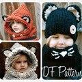 Fox Ouvido Tampas Cachecol Definir Inverno Chapéus Crianças Quente Pescoço Envoltório Xales de Lã Bonito Malha Chapéus Crianças Chapéu de Crochê