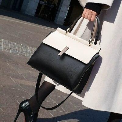 NEW Designer Big Capacity Leather Handbags For Women Contrast Color Shoulder Crossbody Bag Luxury Handbags Women Bag