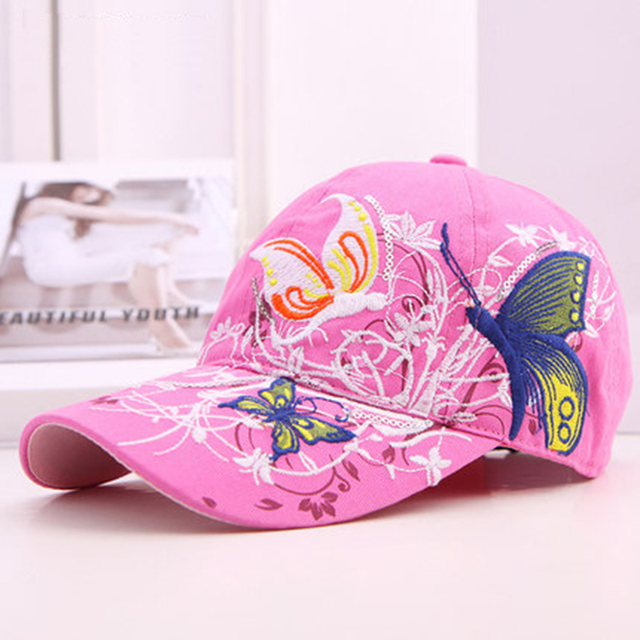 Casquette de Baseball avec motif papillon brodé   Casquette de soleil dété pour femmes, casquettes de Style coréen ajustable, fleur décontracté, tendance femmes rétro