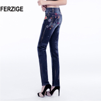 FERZIGE Women S Jeans High Waist Elastic Embroidery Dark Blue Painted Printed Floral Denim Pants Fashion