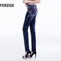 FERZIGE Women S Jeans High Waist Elastic Embroidery Dark Blue Painted Printed Floral Denim Pants Fashion