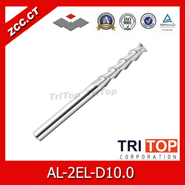 AL-2EL-D10.0 ZCC.CT Cemented Carbide 2-flute flattened end mills long cutting edge with straight shank cnc end mills zcc cthm hmx 4efp d8 0 solid carbide 4 flute flattened end mills with straight shank long neck and short cutting edge