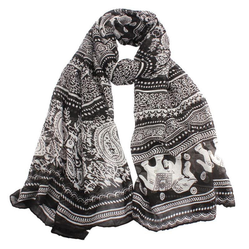 Beach   Scarf   From India Sexy Shawls and   Scarves   Loose Casual Brand poncho Neck Stole Elephant Print Long Scarfs   Wrap   Pashmina