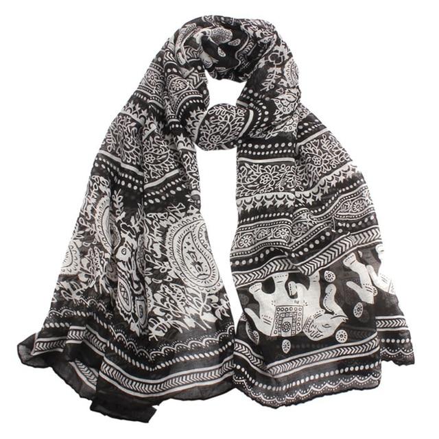 Bufanda de playa de la India Sexy chales y bufandas suelta Casual marca poncho cuello estola elefante estampado bufandas largas envoltura Pashmina