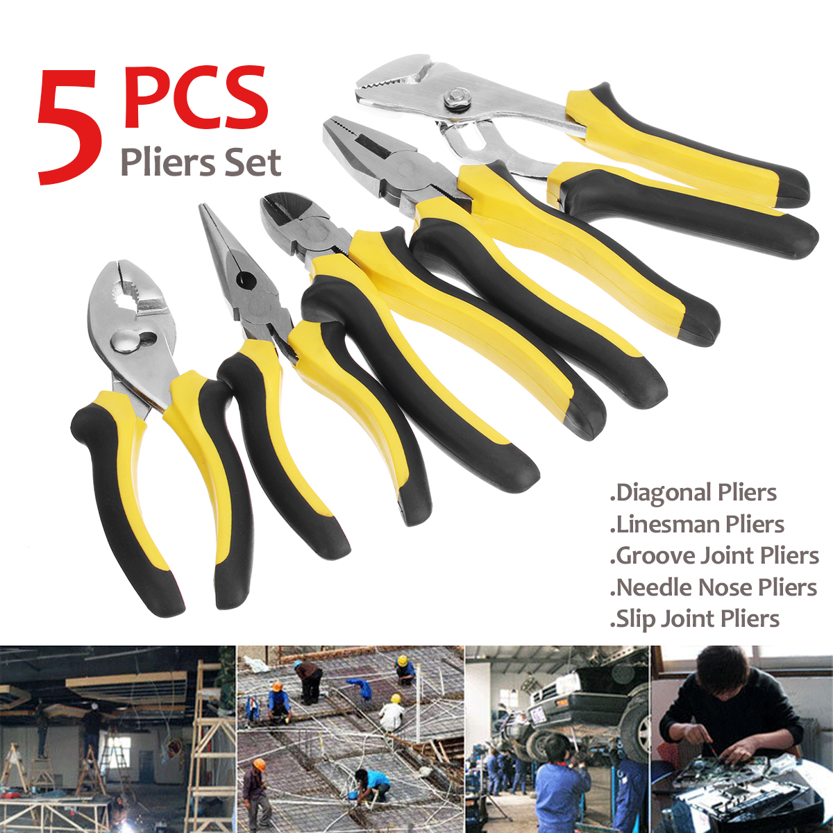 5Pcs Mini Diagonal Nose Pliers Electrician Wire Stripper Cable Cutter Plier Set Plumbing Crimping Long Nose Plier Hand Tool combination plier electrician repair mini hand home tool kit