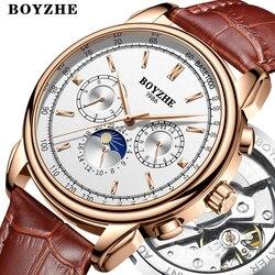 BOYZHE mężczyźni Top luksusowa marka automatyczny zegarek mechaniczny Casual skórzana faza księżyca wojskowy tydzień wyświetlacz zegarki Relogio Masculino