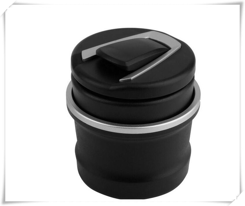 Car Ashtray Led Light Round Black Strong Retardant PBT Plastic Accessory