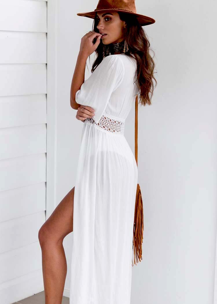 HTB1eyJYgo3IL1JjSZFMq6yjrFXaJ - Boho Women's Summer Holiday Beach Suit Kaftan Dress Half Sleeve V-Neck Sexy Loose Hollow Out Dress