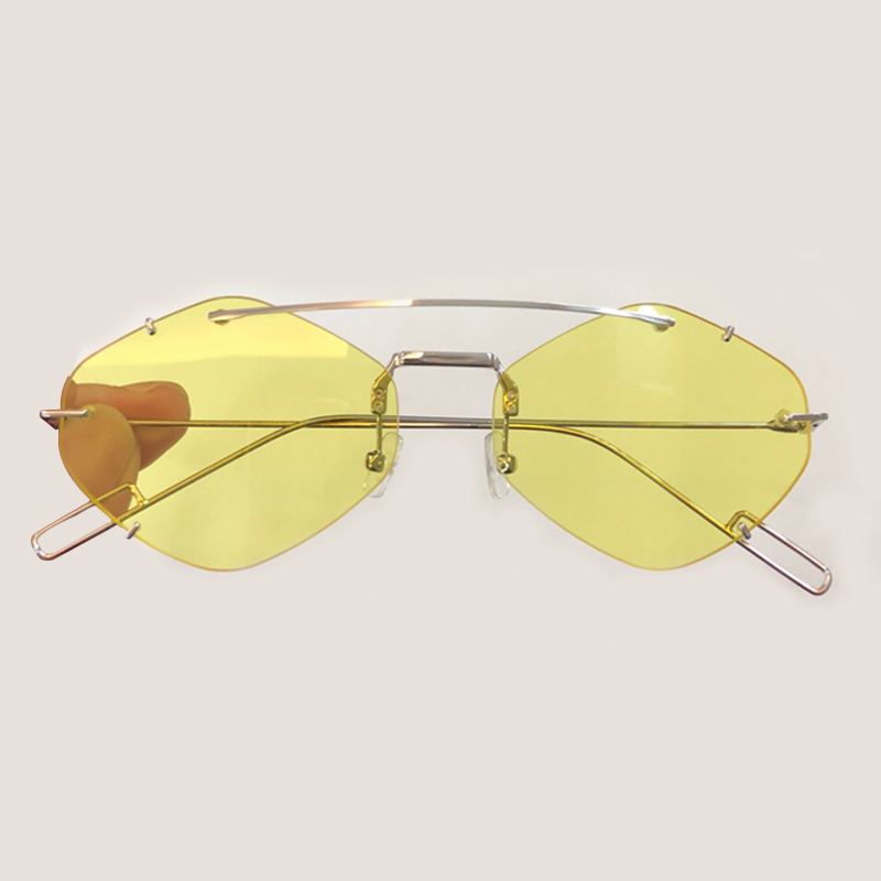 High Quality Sunglasses Women Cat Eye Rimless Mirror Round Sunglasses For Women Fashion Brand Designer UV400 Female Sun Glasses
