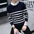 New winter wear pullovers tide youth round collar spell color stripe han edition cultivate one's morality men sweater