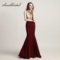 Cheap Shining Beading Rhinestone Bodice Long Mermaid Prom Dresses with Bow Sashes Satin 2018 Evening Party Gowns In Stock LX414