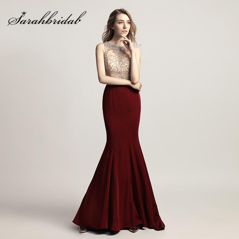 Pas cher Brillant Perles Strass Corsage Longue Sirène robes de bal avec foulard nœud papillon Satin 2019 de Soirée robe de fête en stock LX414