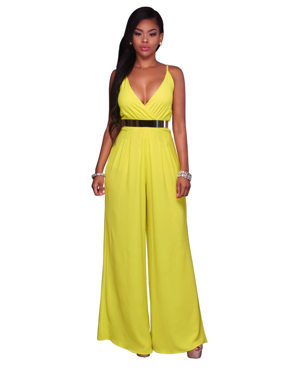 2017 Summer Deep V Neck Club Wear Overalls For Women Jumpsuits Sling Wide Leg Loose Long Rompers Pants Yellow Orange Red