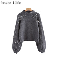 Future Time Pearl Beaded Rib Knit Jumper Winter Womens Pullover Sweaters Grey Stand Collar Long Sleeve