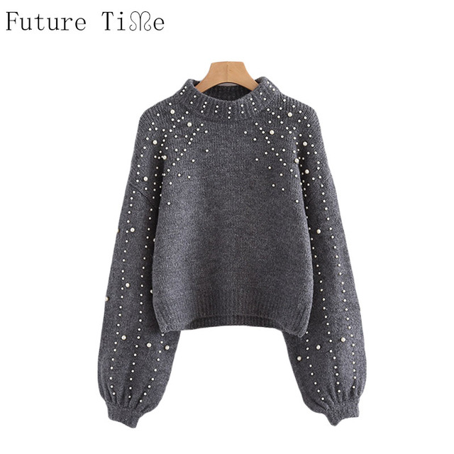 Future Time Pearl Sweater Beaded  Knit Jumper Winter Womens Pullover Sweaters Grey Stand Collar Long Sleeve Tight Sweater MY207