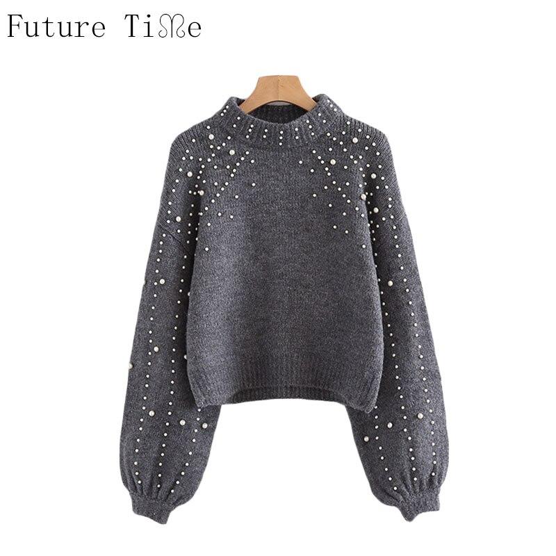 tempo-futuro-perola-frisado-costela-cinza-gola-knit-jumper-pulover-blusas-de-inverno-das-mulheres-de-manga-comprida-sueter-apertado-my207