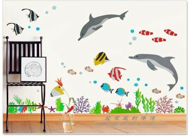Under the sea cute cartoon fish home decoration stickers for Poster mural zen deco