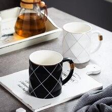 Free Shipping Berjaya 480ML Golden Rim Black and White Grid Ceramic Cup Creative Water Glass Business Mug Coffee milk