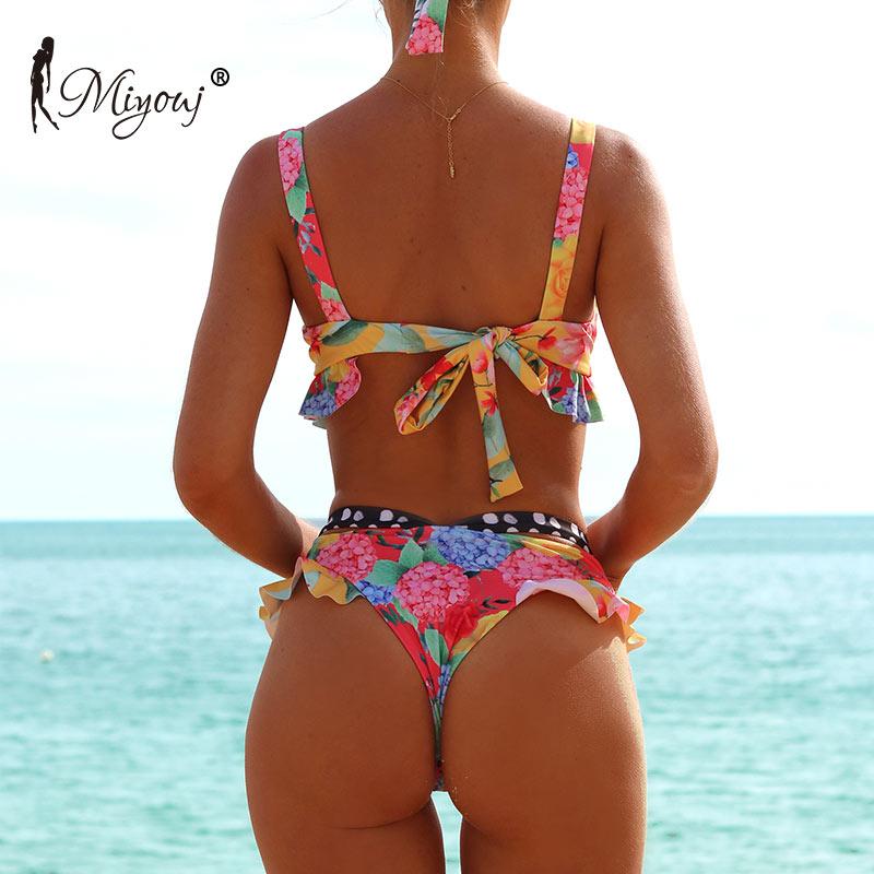 Miyouj Ruffle Floral Bikini Push Up Hollow Out Swimsuit Female Thong Bikini Set Bandage Biquini Feminino 2019 Print Beach Suit