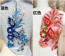 2 Pieces Mesh 3D Flower Rhinestone Applique Sequins Glitter Lace Embroidered Cloth Appliques Stage Costume Accessories