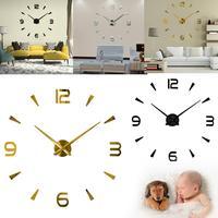 Modern 3D Mirror Surface Clock Wall Clock Sticker Home Office Room Decor Adesivo De Parede Vinilos Decorativos Para Paredes