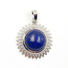 FYJS Unique Silver Plated Sun Flower Shape with Lapis Lazuli Round Bead Cabochon Pendant Ethnic Jewelry