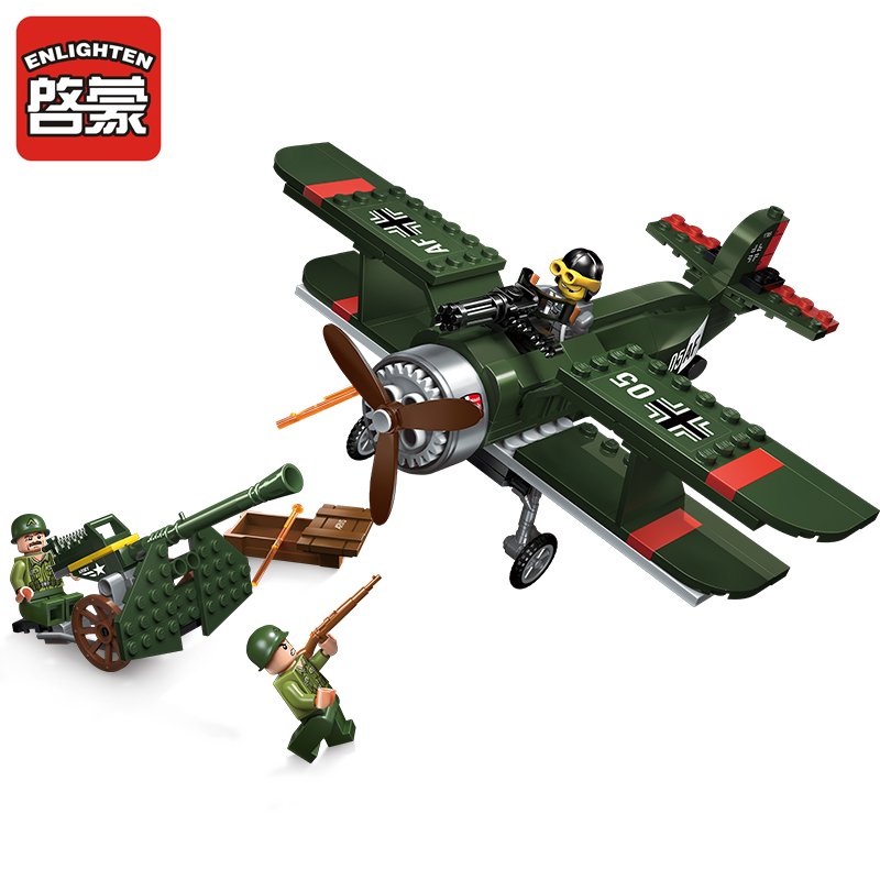 1705 ENLIGHTEN WW2 Military Air Defence Biplane Fighter Howitzer Model Building Blocks Figure Toys For Children Compatible Legoe enlighten building blocks military cruiser model building blocks girls