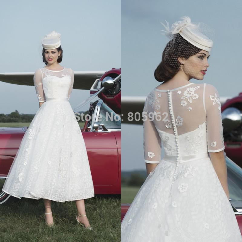 Long Sleeves Tea Length Lace Wedding Dresses