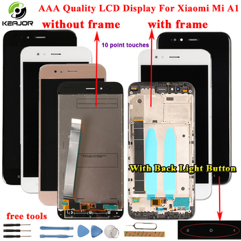 Untuk Xiao Mi A1 Mi A1 LCD Display + Touch Screen + Bingkai dengan Lampu Belakang Tombol FLEX Kabel Kaca panel Alat untuk Xiao Mi Mi A1 Mi A1 LCD