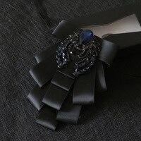 i Remiel New British Multi layer Rhinestone Fabric Bow Tie Brooch Pin for Men Wedding Groom Best Man Shirt Coat Suit Accessories